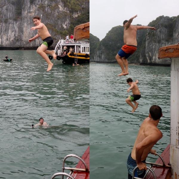 Jumping off the boat_Ha Long Bay_Vietnam