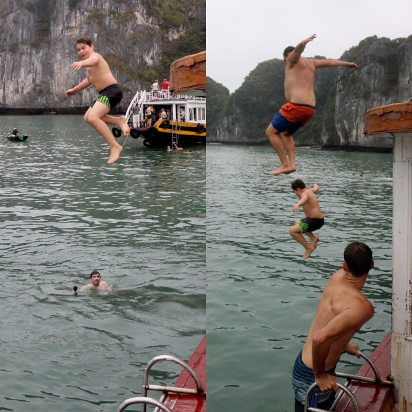 Jumping off the boat_Ha Long Bay_Vietnam
