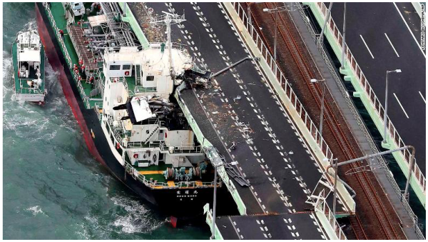 Tanker crashed into Kansai Airport Bridge_Typhoon Jebi_Sept 4